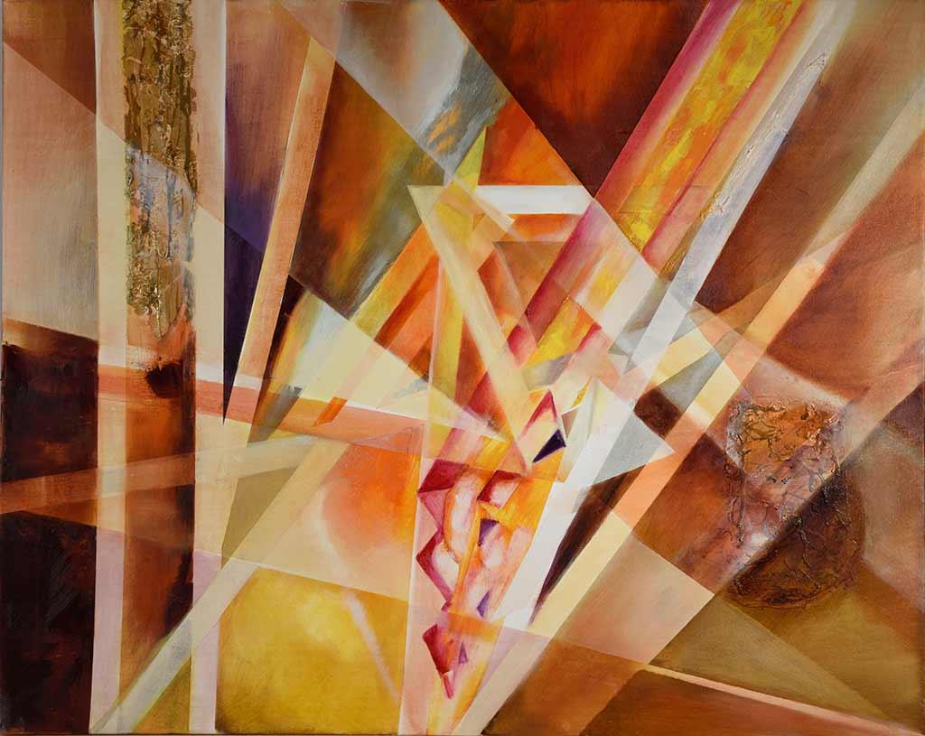 Forme e trasparenze olio su tela + foglia oro 1mt x 80cm