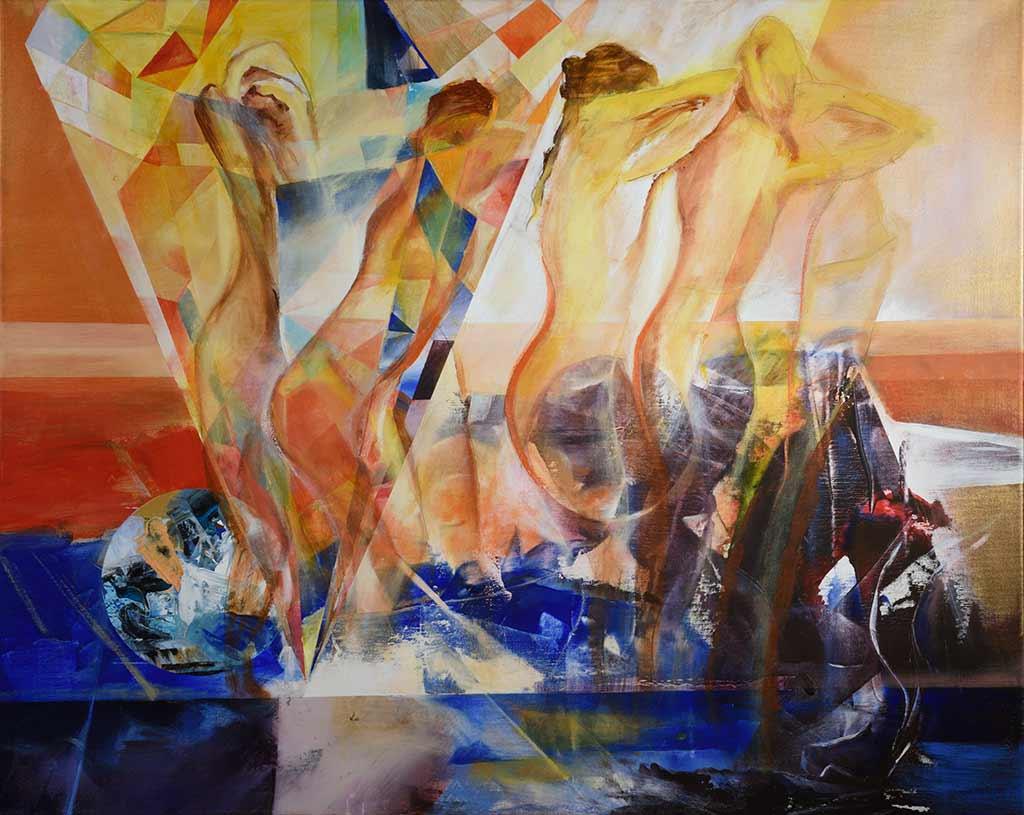 danzatrici sul mondo - olio su tela 1mt x 80cm